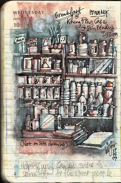 Breakfast at Kheng Ping Cafe located at along Penang Street.  This isn't an on site drawing. However, I did have done one on my watercolour notebook which is still in rough pencil sketch. Will post it in due time when it is completed.  Pen : Lamy Safari Charcoal fountain pen Ink : Noodler's Ink – Polar Black Colours : Derwent Inktense Watersoluble Pencils + Staedtler Karat Aquarell Watercolour Pencils + Daler Rowney White Acrylic  on my Moleskine pocket diary.