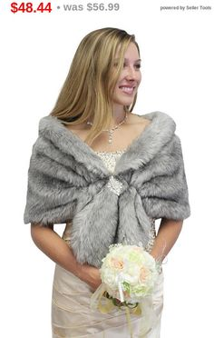 PLN188.12 Memorial Day Bridal fur stole, Grey Chinchilla faux fur stole fox fur shrug bridal fur wrap fur shawl, bridal stole, wedding stole, faux ...