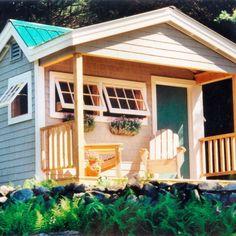 12' x 12' Potting Fort. Diy plans $24.95. Optional cedar shake shingle siding + porch railings. Also available as a kit or fully assembled. #pottingshed http://jamaicacottageshop.com/shop/potting-fort-12-x-12/ http://jamaicacottageshop.com/wp-content/uploads/pdfs/pdf12x12pottingfort.pdf