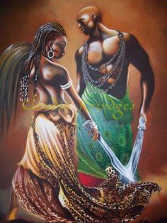 """Oyá e Ogum. Together, black men and women are a strong force. That may be why there was/is such great measures to keep them divided-separated. Together, they ruled & conquered. Divided, their entire family to communities fall apart. Think.  """"Love the message & the painting"""""""