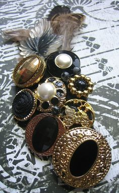 Brooch, Pin, Scarf or Hat Accessory - Black White and Gold Vintage Button Collage