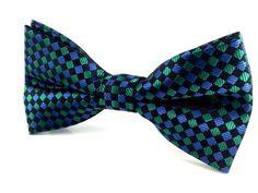 Green Black Aqua Blue Pattern Checks - Bow Tie
