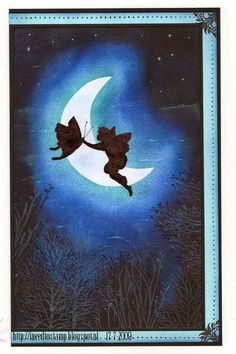 rubber stamping: fairy flying to the moon