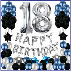 Birthday Decorations Birthday Party Balloons Blue Silver For Girls Boys Women Men 80 Pack Party Supplies - Real Time - Diet, Exercise, Fitness, Finance You for Healthy articles ideas 18th Birthday Party Ideas For Girls, 18 Birthday Party Decorations, Blue Birthday Parties, Balloon Decorations Party, Birthday Balloons, 13 Birthday, 18th Birthday Decor, Women Birthday, Birthday Banners