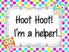 Hoot Hoot! I'm a helper! {FREE classroom job chart} Classroom Job Chart, Owl Theme Classroom, Classroom Helpers, Classroom Jobs, Classroom Organisation, First Grade Classroom, Classroom Posters, Classroom Displays, Kindergarten Classroom