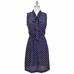 Black Dress With Multi Color Polka Dots & Tie Collar #workdresses