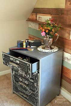 Faux Zinc and Chalkboard File Cabinet-SO cool!