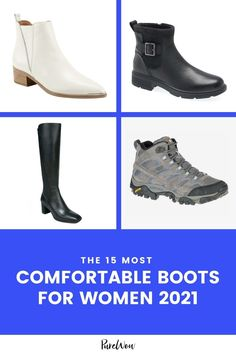Rather than put our poor feet through the aches and pains of yet another cute but toe-pinching pair of shoes, we tracked down the most comfortable boots for any and all occasions. #comfortable #boots Leather Booties, Ankle Booties, Comfortable Wedges, Waterproof Shoes, Platform Boots, Lace Up Boots, Winter Boots, Knee High Boots, Chelsea Boots
