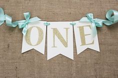 ONE High Chair Banner | Mint and Gold Birthday Banner