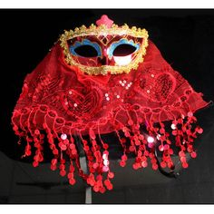 Red Gold Bling Tulle Masquerade Ball Belly Dance Face Veil Masks SKU-321153