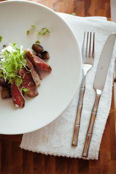 Rib-Eye Steak with Goat-Cheese Potatoes and Portobello Mushrooms