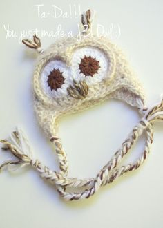 JuneBug Inspirations : : Crochet Owl Hat Tutorial
