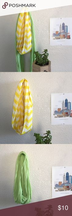Cotton infinity scarves ✨ Two cotton infinity scarves (yellow/white in chevron & light green/white in stripes). The green is longer and skinnier than the yellow. EUC. No flaws. Selling together unless otherwise requested. 😊 Accessories Scarves & Wraps