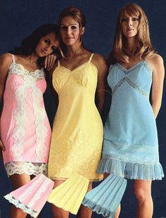 Nylon floaty full slips adorned with lace in full colour. Retro Lingerie, Women Lingerie, Underwear Pics, Lingerie Catalog, Vintage Colors, Dress Up, Vintage Fashion, Feminine, Slip On