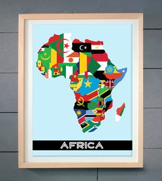 African Map with flags ART PRINT 16x20 inches 41 by thepixelprince, $20.00