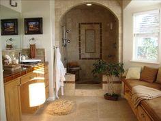 Travertine & glass tile walk-in shower