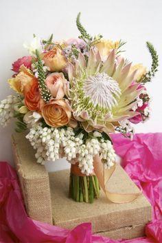 Sunshine Coast wedding florist | Ginger Lily & Rose Floral Studio | Protea and spring flower bouquet