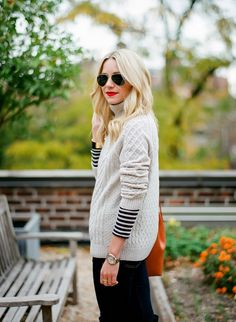 Atlantic-Pacific is a fashion and personal style site by Blair Eadie. Fall Winter Outfits, Autumn Winter Fashion, Fall Fashion, Looks Style, Style Me, Classic Style, Striped Turtleneck, Striped Tee, Lauren