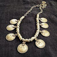 Cahide Silver Coin Necklace Turkish coin design, handmade 925 Silver plated, 19 inches in length