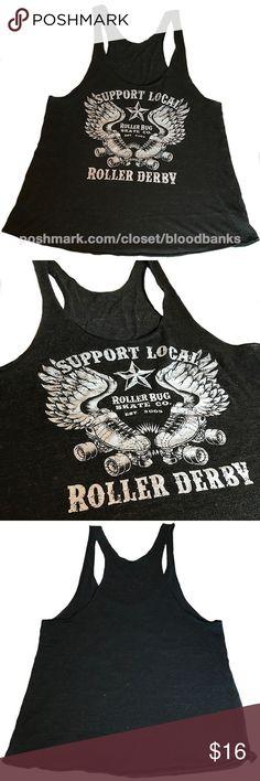 AM APPAREL • Printed Roller Derby Racerback Tank Roller derby racerback tank printed on American Apparel tank. Raw edged in a dark gray marled color. American Apparel Tops Tank Tops