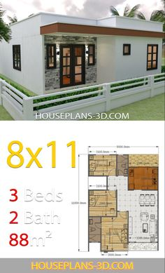 House Design with 3 Bedrooms Full Plans - House Plans House Design with 3 Bedrooms Full PlansThe House has:-Car Parking and garden-Living room,-Dining Bedrooms, 2 bathroom 3 Room House Plan, House Layout Plans, Three Bedroom House, Bedroom House Plans, Dream House Plans, House Layouts, Small House Plans, Dream Houses, Modern Bungalow House Design