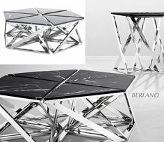 Eichholtz nieuwe collectie Table Galaxy zwart marmer tafelblad met Chrome / showroom Eichholtz