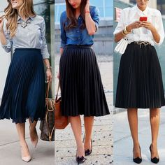 Women S Fashion Dresses Wholesale Black Pleated Skirt Outfit, Midi Skirt Outfit, Casual Work Outfits, Modest Outfits, Modesty Fashion, Fashion Dresses, Outfit Elegantes, Mode Cool, Skirt And Sneakers