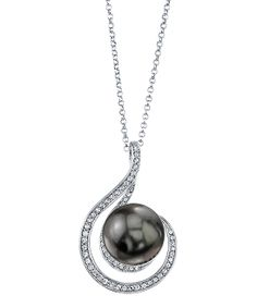 Black Pearl Melody Pendant Necklace Made With SWAROVSKI ELEMENTS  Radiance Pearl