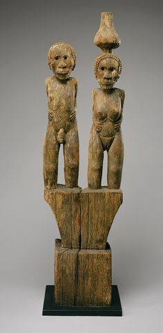 Africa | Standing couple from the Sakalava people of Menabe, Madagascar | Wood and pigment | ca. 17th to late 18th century
