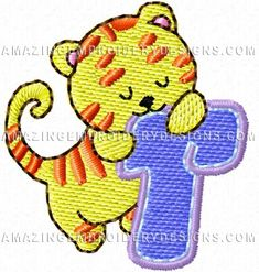 """This free embroidery design is called """"T is for Tiger""""."""