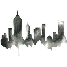 Black artwork of NYC, New York City Skyline, Print from Original... (98 RON) ❤ liked on Polyvore featuring home, home decor, wall art, fillers, backgrounds, art, decor, extras, doodles and effects