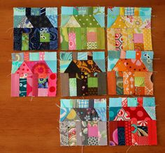 houses from fabric scraps ~ not mine but I'm working on one like this!