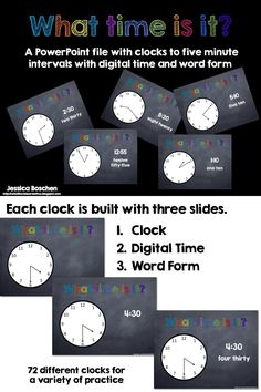 What Time is It?  Powerpoint with intervals to the 5 minute.