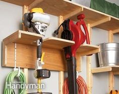 Garage Storage Solutions: One-Weekend Wall of Storage - Step by Step: The Family Handyman Create your own custom storage system in one weekend Garage Tool Organization, Garage Storage Solutions, Diy Garage Storage, Garden Tool Storage, Shop Storage, Workshop Organization, Workshop Ideas, Storage Hooks, Storage Shelves