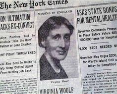 New York Times Headline on April 3 in Missing in England; Virginia Woolf Believed Dead Virginia Woolf, New York Times, Writers And Poets, Leonard Woolf, Maynard Keynes, Duncan Grant, Bloomsbury Group, English Writers, Theater