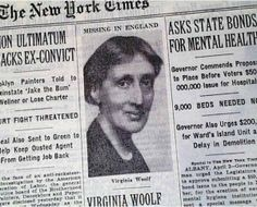 New York Times; Headline: Virginia Woolf Believed Dead; April 3 1941. #virginiawoolf