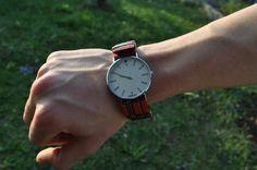 orologio vintage da uomo con cinturino in tessuto