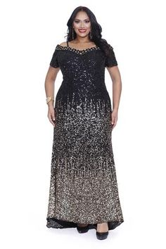 Kurves By Kimi Black Gold Sequins Off the Shoulder Plus Size Evening Gown 71181 Front View