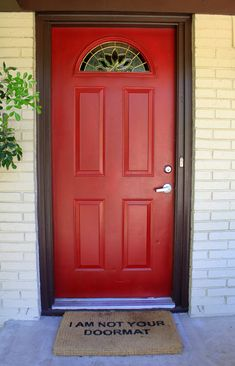 Red front door, but with black latch style handle and a door knocker