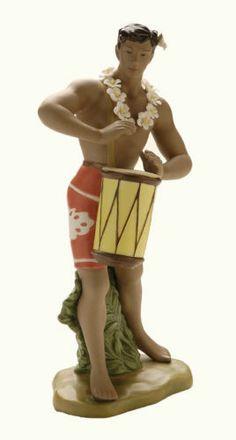 HAWAIIAN Art Deco HAWAII Porcelain Figurine GILL Drum