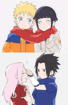 Gestures of Love: Hinata gave Naruto that red scarf, that was knitted with her feelings of love towards him🧣 and Sasuke shows his love by giving Sakura the forehead tap that Itachi used to give to him. Naruto Shippuden Sasuke, Naruto Kakashi, Anime Naruto, Naruto Comic, Fan Art Naruto, Naruto Teams, Naruto Cute, Naruto Sasuke Sakura, Otaku Anime