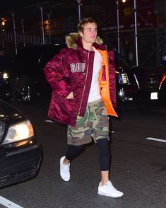 Justin Bieber Wearing Supreme Jacket, FOG Camo Shorts and Nike Sneakers