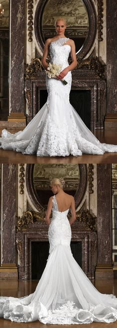 Gorgeous Tulle One Shoulder Neckline Mermaid Wedding Dresses with Beaded Lace Appliques