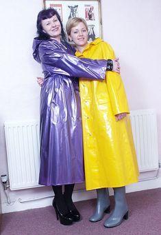 Raincoats For Women Shops Info: 5281453580 Vinyl Raincoat, Pvc Raincoat, Yellow Raincoat, Rain Bonnet, Rain Fashion, Women's Fashion, Leather High Heel Boots, Langer Mantel, Pvc Coat