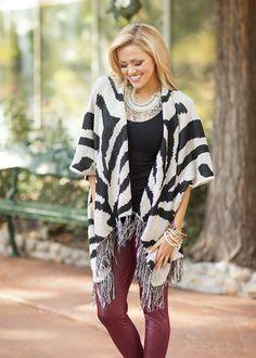 Zebra Open Fringe Sweater - Modern Vintage Boutique