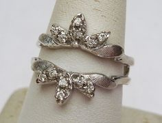 14k 18pts Diamond Ring Guard Wedding Band 1960s by KlinesJewelry, $595.00 like the vintage style.