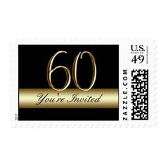 Black Gold 60th Birthday Party Postage
