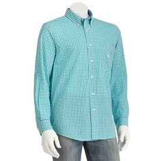 Chaps Gingham Checked Easy-Care Casual Button-Down Shirt