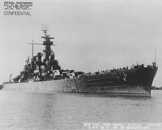 Starboard bow view of USS North Carolina Pearl Harbor Navy Yard US Territory of Hawaii 16 November 1942.