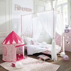 They'd be like the princess and the pea in this pink four-poster bed Lit Double Ikea, Baby Bedroom, Girls Bedroom, Four Poster Bed, Pink Room, Little Girl Rooms, Kids And Parenting, Toddler Bed, Home Decor